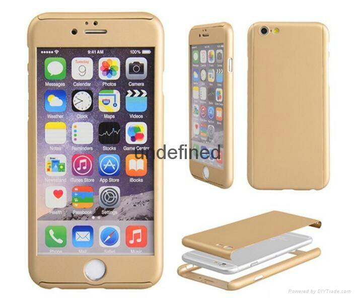 360 full cover protective PC  phone case with with tempered glass for iPhone 6/7 2