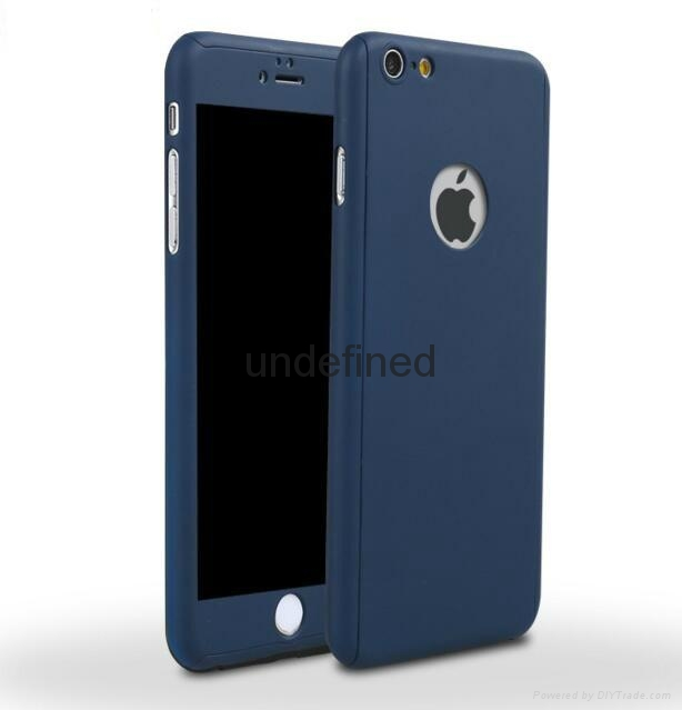 360 full cover protective PC  phone case with with tempered glass for iPhone 6/7 4