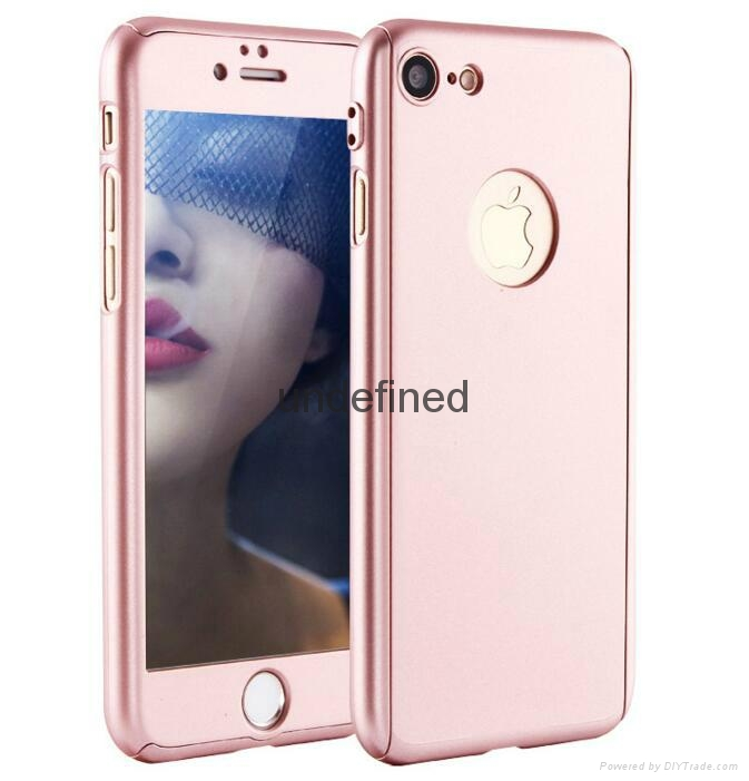 360 full cover protective PC  phone case with with tempered glass for iPhone 6/7 15
