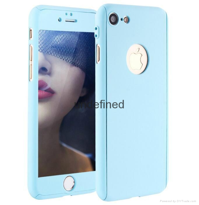 360 full cover protective PC  phone case with with tempered glass for iPhone 6/7 17