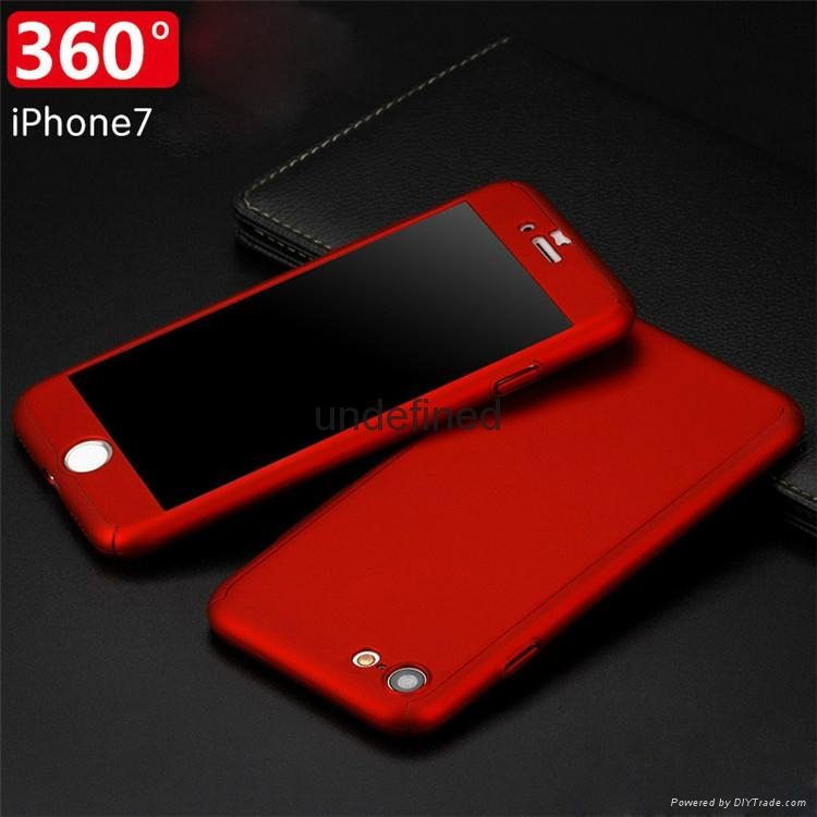 360 full cover protective PC  phone case with with tempered glass for iPhone 6/7 1