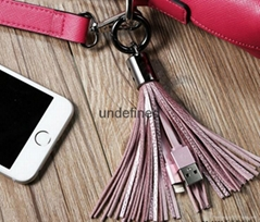 2017 New Leather Tassel 8pin to USB Cable Metal Ring KeyChain Charge Data Cable