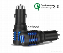 Metal Safety hammer Quick charger 3.0 car charger,qc3.0 car charger usb charger