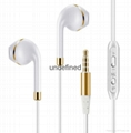 Universal 3.5mm wired stereo earphone for Smart phones with gold color