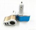 Factory supply 3 In 1 Car charger Cigarette Lighter Adapter 2 USB Port  5V 3.1A