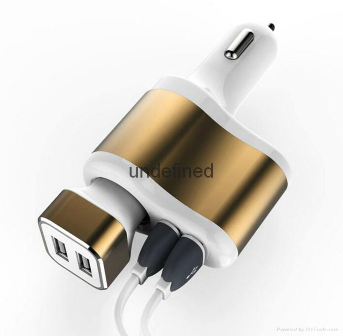 Factory supply 3 In 1 Car charger Cigarette Lighter Adapter 2 USB Port  5V 3.1A  10