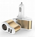 Factory supply 3 In 1 Car charger Cigarette Lighter Adapter 2 USB Port  5V 3.1A  11