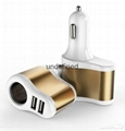 Factory supply 3 In 1 Car charger Cigarette Lighter Adapter 2 USB Port  5V 3.1A  1