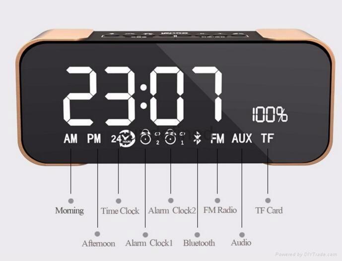 Portable Wireless Bluetooth Speaker PTH-305 Support FM Radio TF Time/Alarm Clock 3