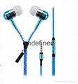 Fashion and Hot selling Zipper Earphone Metal Shell In-Ear Earphone With MIC