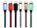 Colorful micro usb 2.0 cable sync charging cable 2.1A  hemp rope usb sync cable