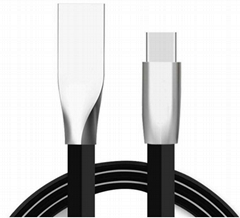 Flat Zinc Alloy USB Sync Charge type C Data Cord cable for Smart Phones