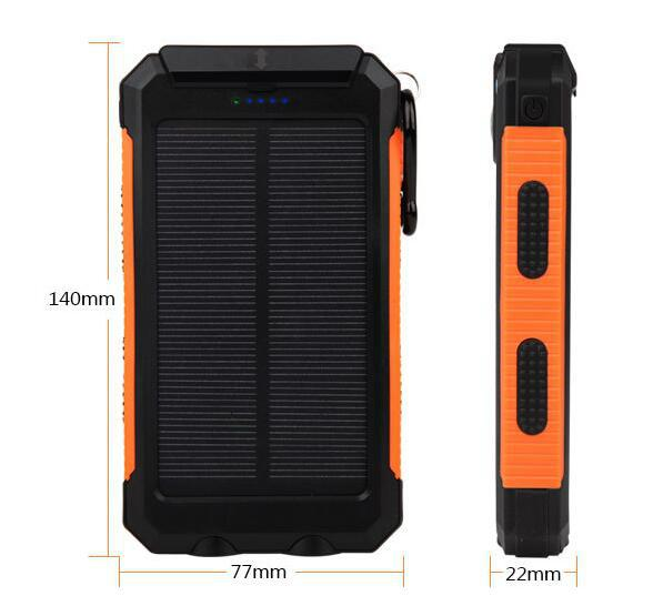 8000mah Waterproof Solar Power Bank Portable Mobile Phone Charger with Compass 6