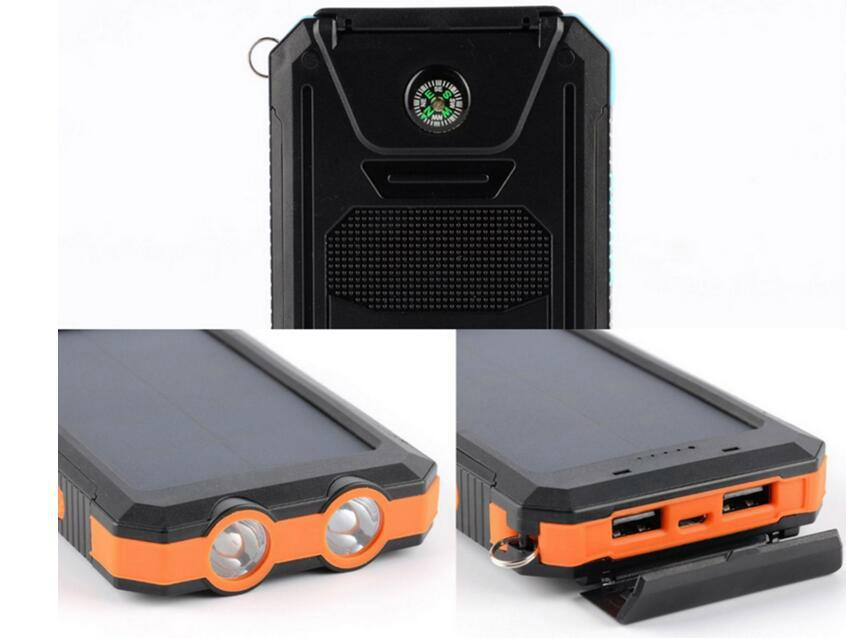 8000mah Waterproof Solar Power Bank Portable Mobile Phone Charger with Compass 2