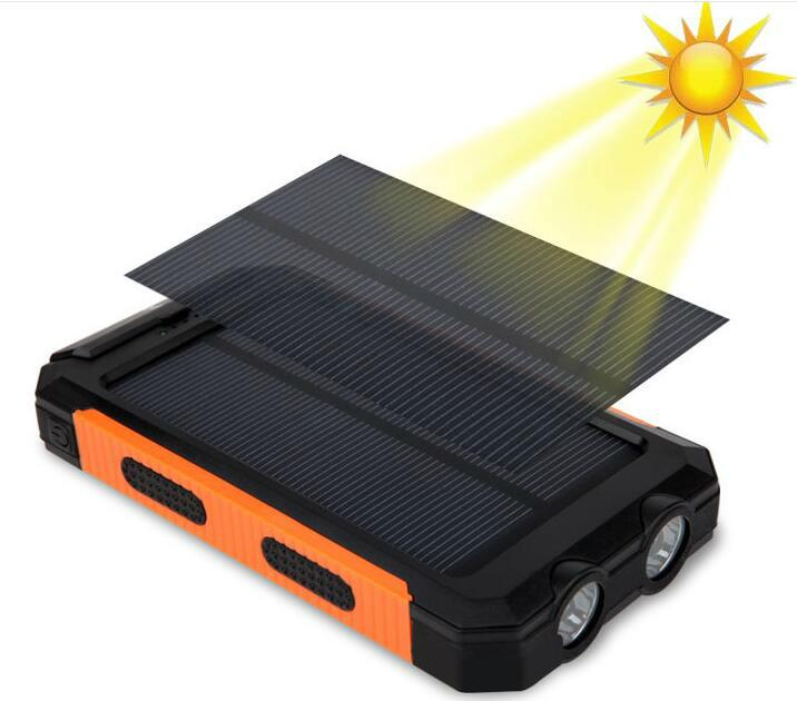 8000mah Waterproof Solar Power Bank Portable Mobile Phone Charger with Compass 12