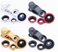3 In 1 Universal Clip Lens for Mobile Phone  Fish Eye + Macro Lens + Wide Angle