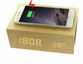 New Qi wireless charging  Bluetooth Speaker with Alarm clock,Temperature,Charger