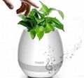 smart led flowerpot bluetooth speaker for real plant touch leaf to play music