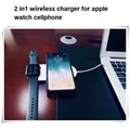 New Design 2 in1 fast charger for apple watch cellphone 3 coil wireless charger