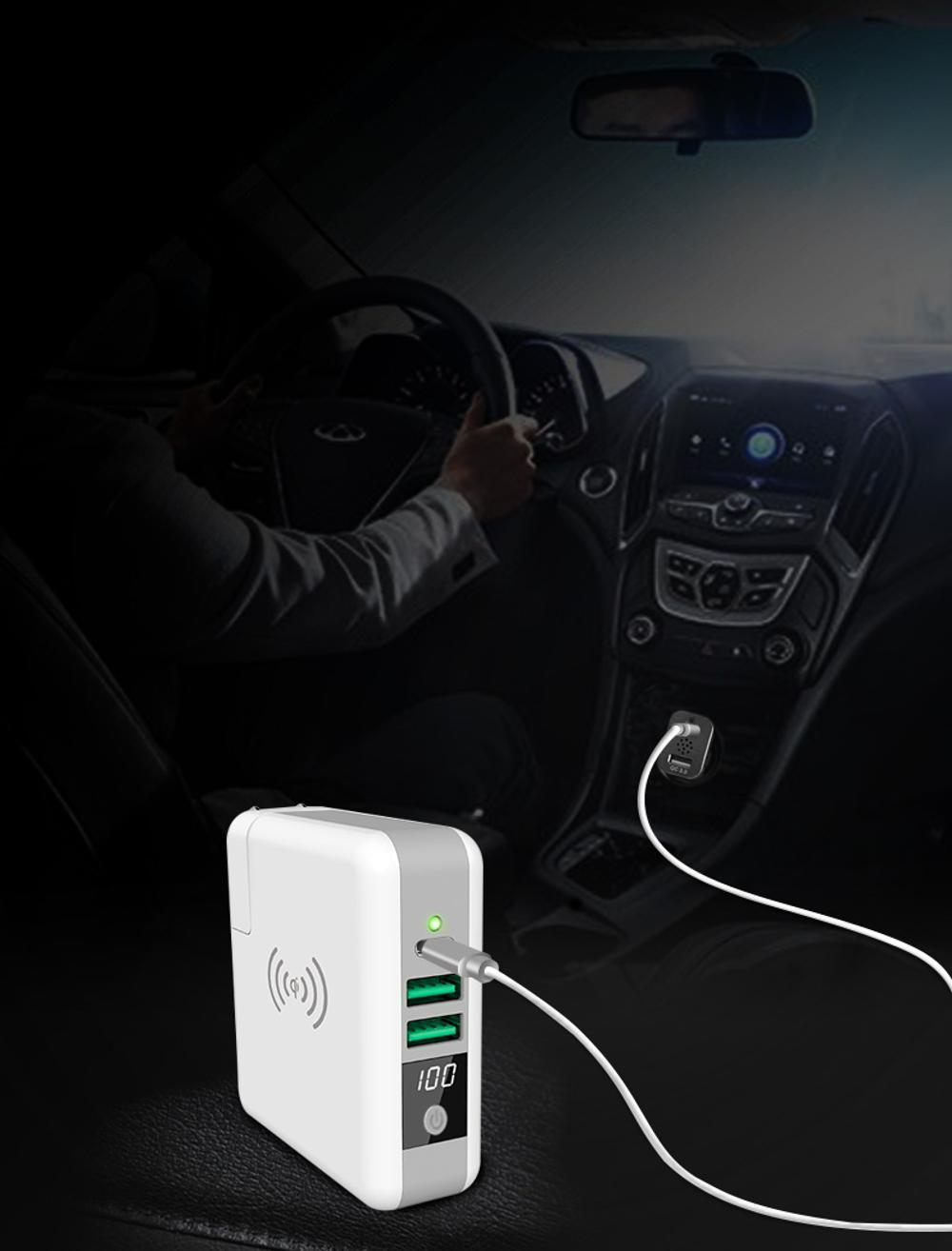 Wholesale universal travel charger Qi wireless mulifunctional power bank 6700mAh 14