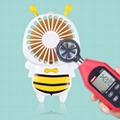 New cute baby bee mini fan usb hand hold fan with night light air conditioner 4
