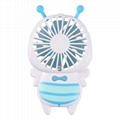 New cute baby bee mini fan usb hand hold fan with night light air conditioner 6