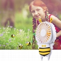 New cute baby bee mini fan usb hand hold fan with night light air conditioner 7