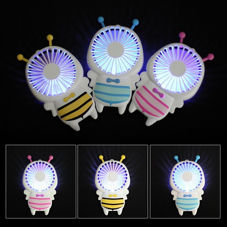 New cute baby bee mini fan usb hand hold fan with night light air conditioner 1