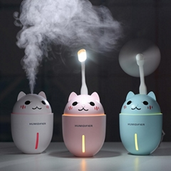 Best cute pet 3 in1 night light usb fan with cooling cat mini mist humidifier