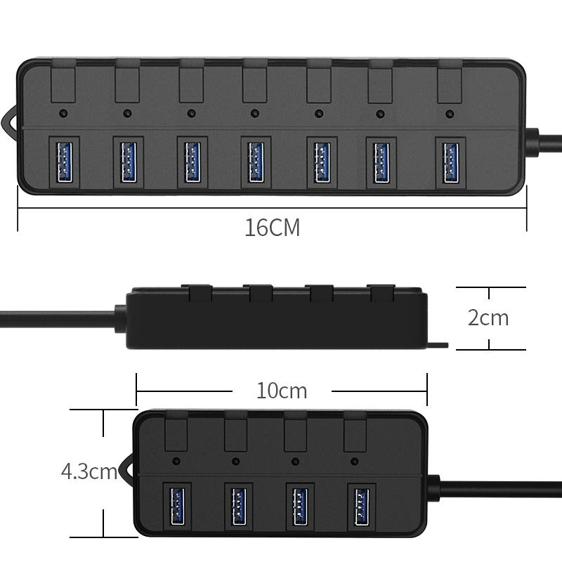 Super Speed 4 port usb hub with ac adapter usb 3.0 hub switches and LED 3