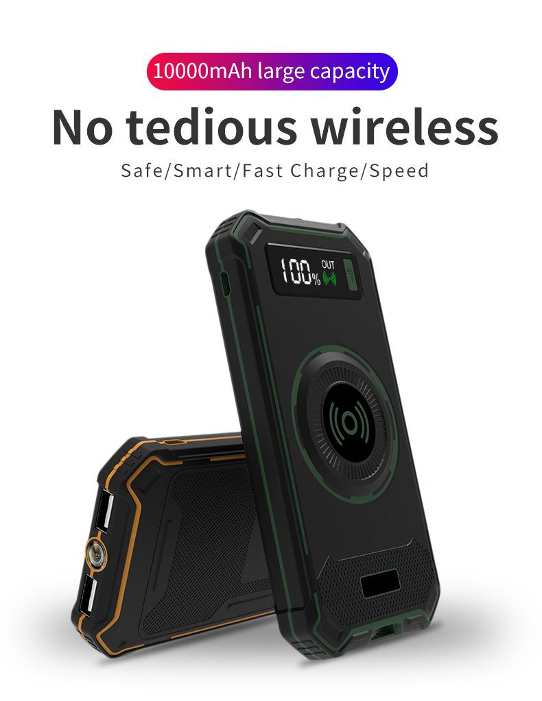 2018 Military Design Wireless Charger Outdoor Anti-Shock Power Bank 10000mAh 5