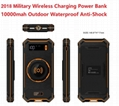 2018 Military Design Wireless Charger Outdoor Anti-Shock Power Bank 10000mAh 1
