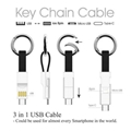 Multifunction Keychain magnetic 3 in 1 USB Charge Data Cable android USB charger