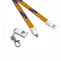 90cm length nylon 2 in 1 neck lanyard charging cable with full logo printing