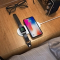 2 in 1 Wireless Charger Pad Fast Charger Ultra Slim Dock Station For Watch Phone
