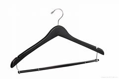 Natural wooden coat hanger with locking bar