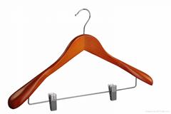 Deluxe wooden coat hanger with  clips pant hanger
