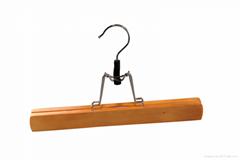 Wooden clamp style pant or skirt hanger hot sell wooden hanger