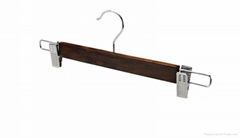 RRetro design wooden pant or skirt hanger with clips1