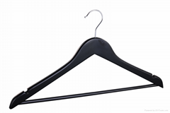 Colorful flat wooden coat hanger with bar suit hanger
