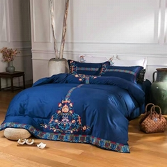 2017 new arrival folk style embroidery 60S cotton bedding set