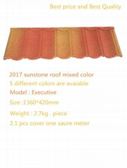 2017 Special Color Glavalume Steel Stone Coated Roofing Tiles Orange Red