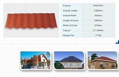 0.4mm thickness gauge red color  stone coated metal roof tiles