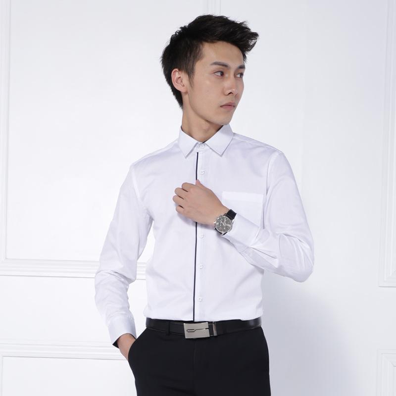 男士新款长袖商务白色衬衫修身职业装现货 3