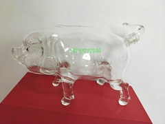 500ML Hand Blown Pig Shaped Glass Wine Bottles