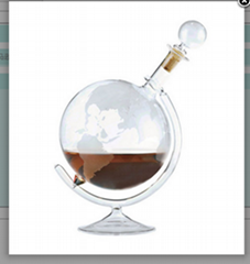 750ml Whiskey Decanter For Spirits Or Wine Decorative Etched Glass Globe Design