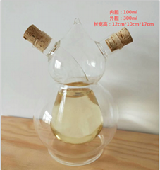 70ml 400ml Two Double Spaces Round Ball Globe Vinegar Glass Bottle in Heat Resis