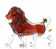 Animal Shaped Lion Shape Wine Handmade Glass Bottle
