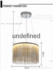 Nordic Minimalism Aluminum Tassel Foyer LED Pendant Light Lustre Round Metal Bed