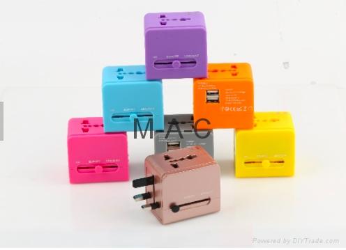 Dual USB Socket Power Travel Adapter with Universal Plug world travel adaptor wi